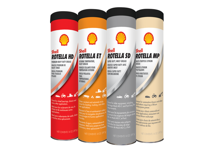 Shell Rotella's new line of greases are made for use on a variety of vehicles and equipment.