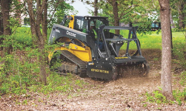 John Deere's mulching head attachment has a three-position heavy-duty push bar helps protect the carrier while toppling trees or brush.