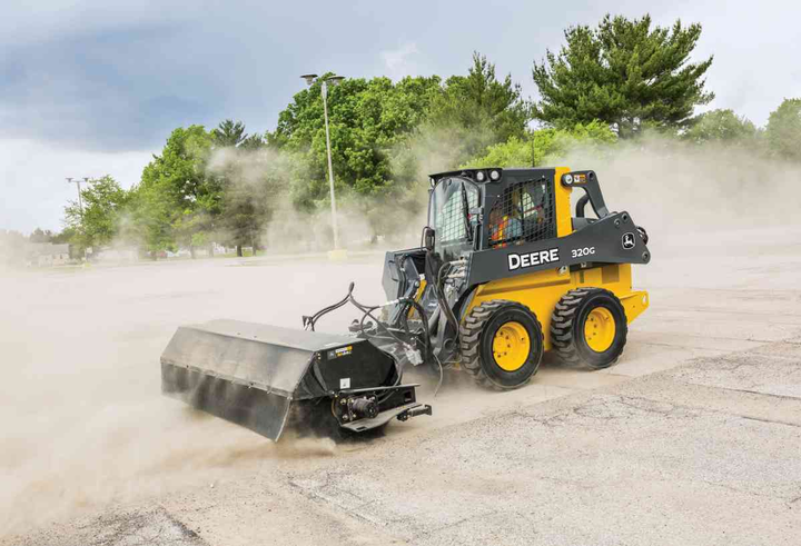 John Deere's angle broom features a hydraulic-angling range of 30 degrees to the right or left of the machine.