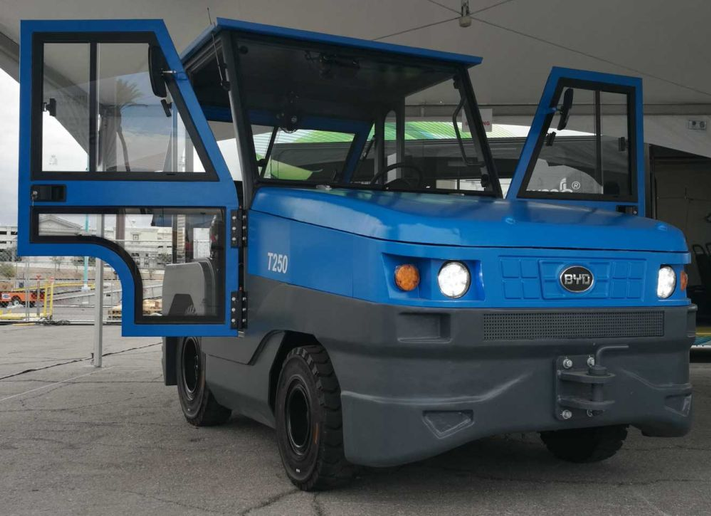 The BYD electric tow tractor features proprietary iron-phosphate battery technology.