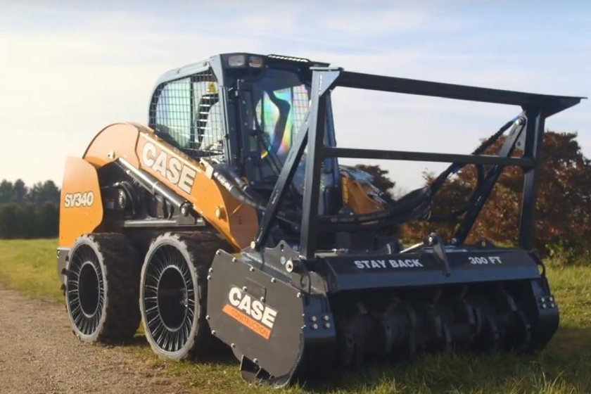 The mulching head is compatible with Case skid steers and compact track loaders.