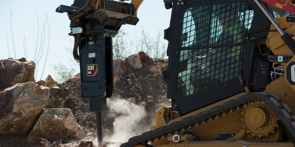 Cat B-Prefix hydraulic hammers are available in silenced and non-silenced versions.