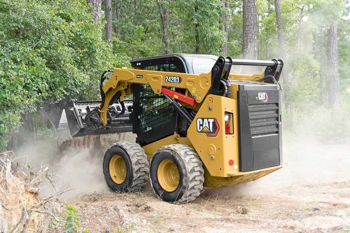 The 242D3 skid steer loader delivers up to 74.3 hp.  - Photo courtesy of Caterpillar