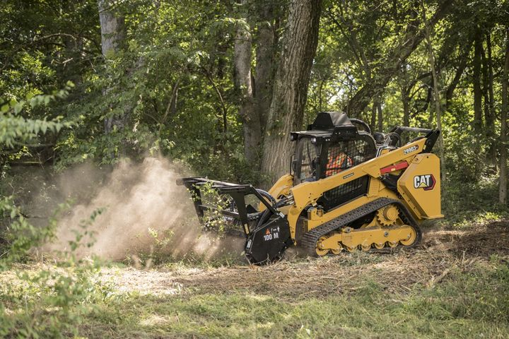 The 299D3 XE Land Management has a 58.1-gallon fuel capacity, which is sized to provide an estimated run time of 11 to 12 hours.  - Photo courtesy of Caterpillar