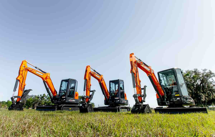 Doosan's DX35-5, DX42-5, and DX50-5 mini excavators