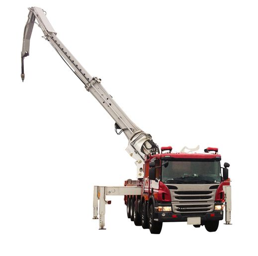 The Gradall FA 70can reach out 70 feet, accessing roofs on six- or seven-story buildings.  - Photo courtesy of Gradall