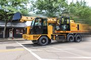 The XL 4100 V hydraulic excavator's single engine is designed to power excavator travel up to 60...