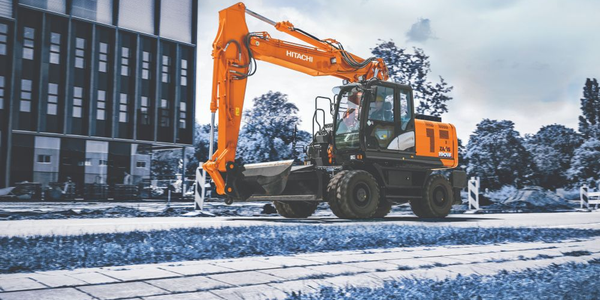 The pavement-friendly Hitachi ZX190W-6 reaches speeds up to 21.7 mph.