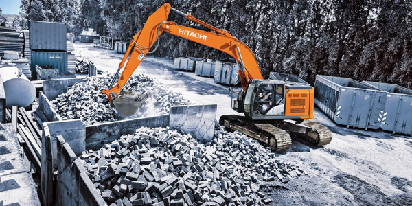 The Hitachi ZX345USLC-6 reduced-tail-swing excavator is equipped with a Final Tier 4 Isuzu 7.8L...