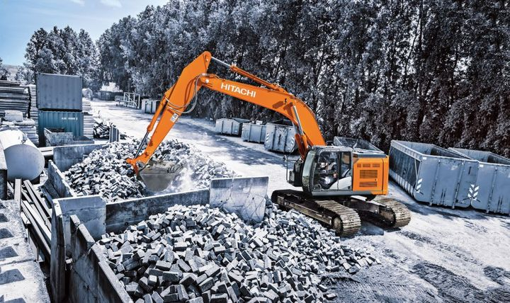 The HitachiZX345USLC-6 reduced-tail-swing excavator is equipped with a Final Tier 4 Isuzu 7.8L engine.  - Photo courtesy of Hitachi