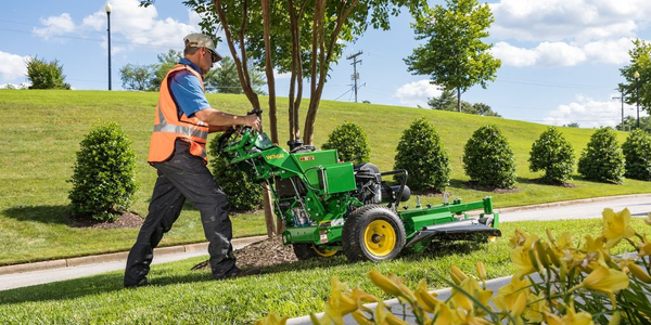 The John Deere W36R walk-behind mower provides ground speed of up to seven and a half miles per...