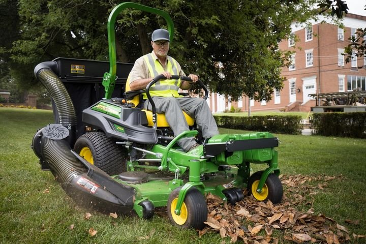 The three-bag MCS provides landscapers with an efficient way to collect material clippings while mowing.  - Photo courtesy of John Deere