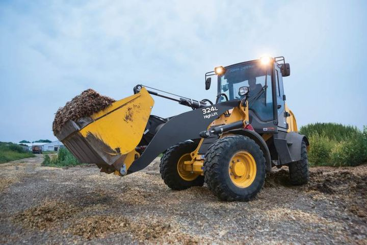John Deere's 324L compact wheel loader has a up to 23 mph.