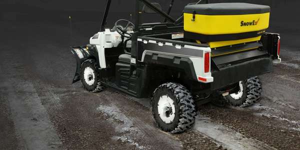 The SnowEx Drop Pro 600 drop spreader can be used with UTVs, tractors, and other compact vehicles.