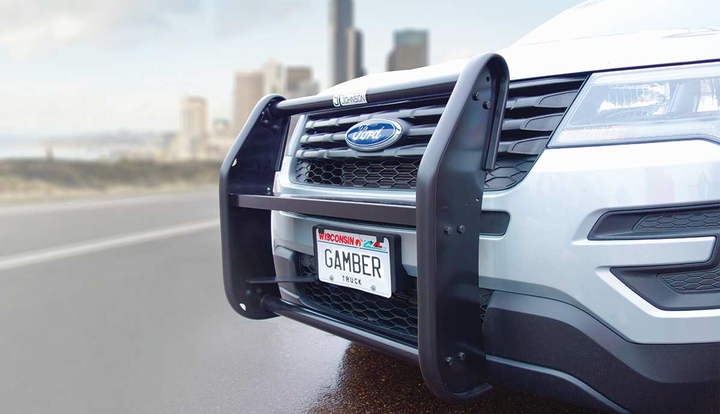 Push bumpers are constructed of aluminum or steel.