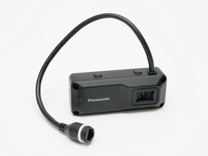 The AS-1 Arbitrator isa forward-facing camera that is mounted behind the rearview mirror.  - Photo courtesy of Panasonic