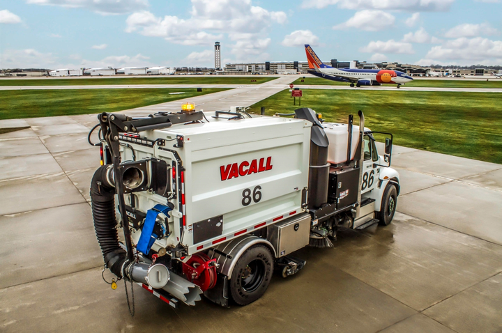 The Vacall AllSweep has a sweeping pathwider than the width of the chassis.  - Photo courtesy of Gradall