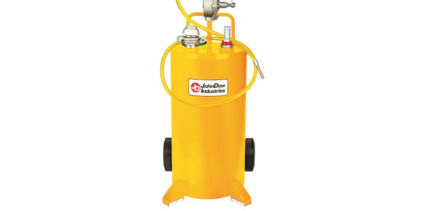 The 25-gallon steel diesel caddy features a cart-style design for easy transport around the...