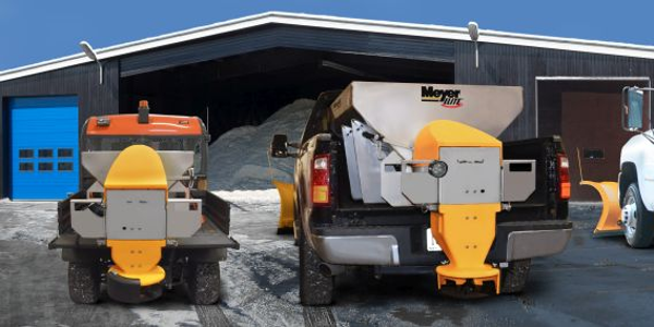 The Meyer Elite spreaders can be used onutility vehicles, mid-sized pickups, and cab and...