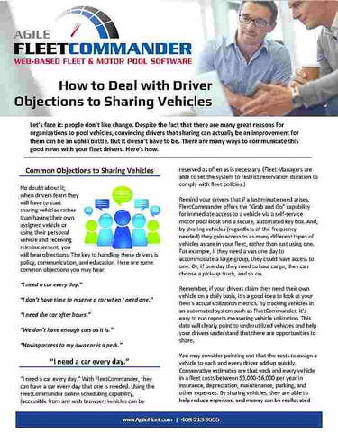 How to Deal with Driver Objections to Motor Pool