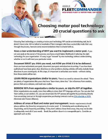 Choosing Motor Pool Technology:  20 Crucial Questions to Ask Before You Buy