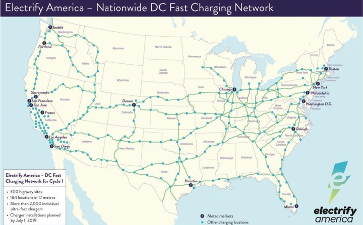 The DC fast chargers offer rates up to 350 kW, which are available on more than 300 highway stations in 42 states as well as more than 180 sites in 17 metro areas. - Graphic courtesy of Porsche