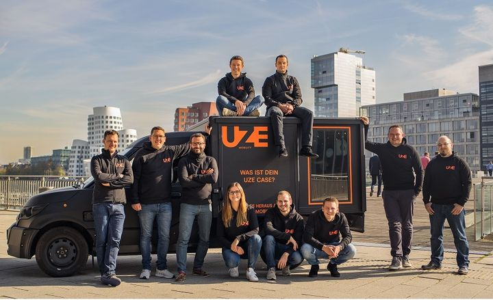 From left to right: CEO & Co-Founder Dr. Dr.-Ing. Alexander N. Jablovski, CDO & Co-Founder Sebastian Thelen and team. - Photo courtesy of UZE Mobility.