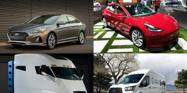 (clockwise l. to r.) 2018 Hyundai Sonata Plug-in Hybrid, Tesla Model 3, Ford Transit Lightning...