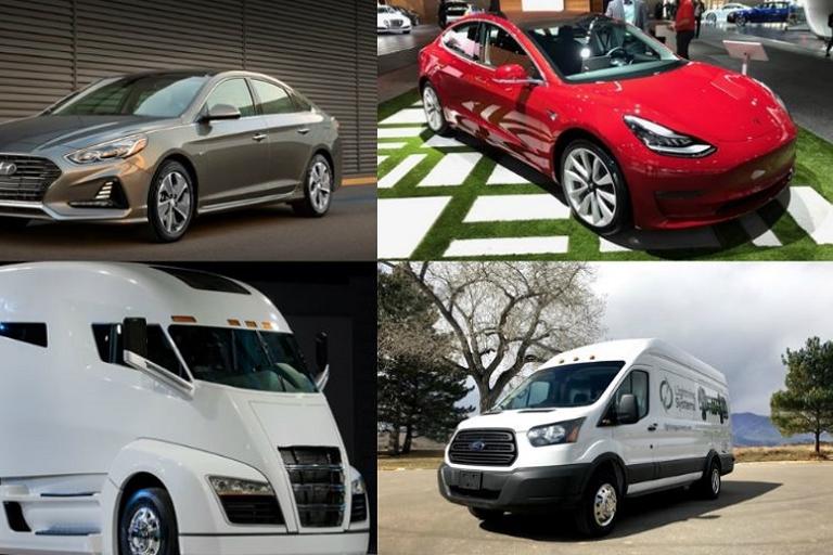 (clockwise l. to r.) 2018 Hyundai Sonata Plug-in Hybrid, Tesla Model 3, Ford Transit Lightning...