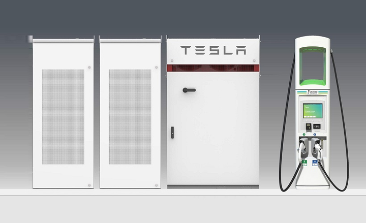 Electrify America is installing Tesla Powerpack battery systems at more than 100 of its battery-electric vehicle charging stations to mitigate higher power demand charges. - Photo courtesy of Electrify America.