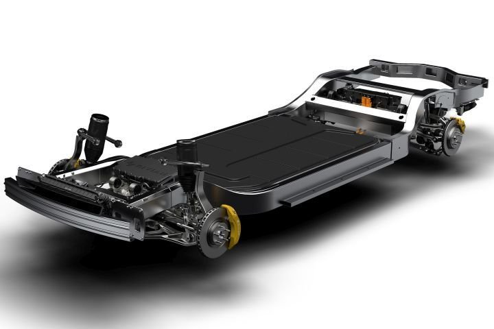 Rivian is developing a battery-electric pickup and SUV that will be based on its skateboard platform.
