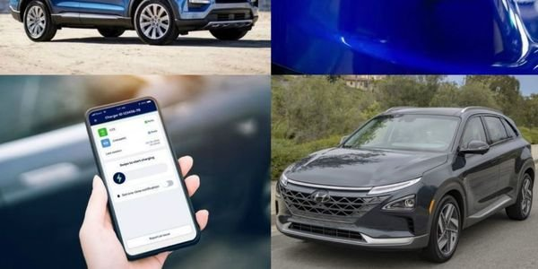 (clockwise l. to r.) 2020 Ford Explorer Limited Hybrid, Chevrolet Bolt EV, Hyundai Nexo,...