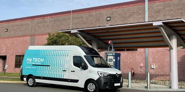 The zero emission Renault Master Van is equipped with a 30kW fuel cell engine, based on Plug...