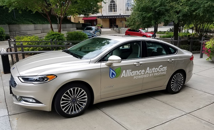 Alliance AutoGas also introduced an electric/propane autogas hybrid Ford Fusion. - Photo courtesy of Alliance Autogas.