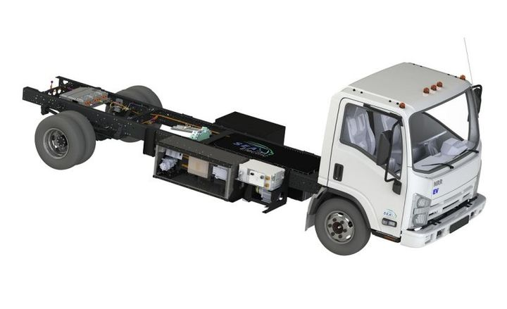 SEA Electric will be showcasing EVs based on Ford and Isuzu platforms, which are at advanced build stage. The Ford F-59 'Stripped Chassis' is being built at Ford's DCP assembly facility in Detroit, while the Isuzu NRR is being assembled nearby at a third-party plant. - Photo courtesy of SEA Electric.