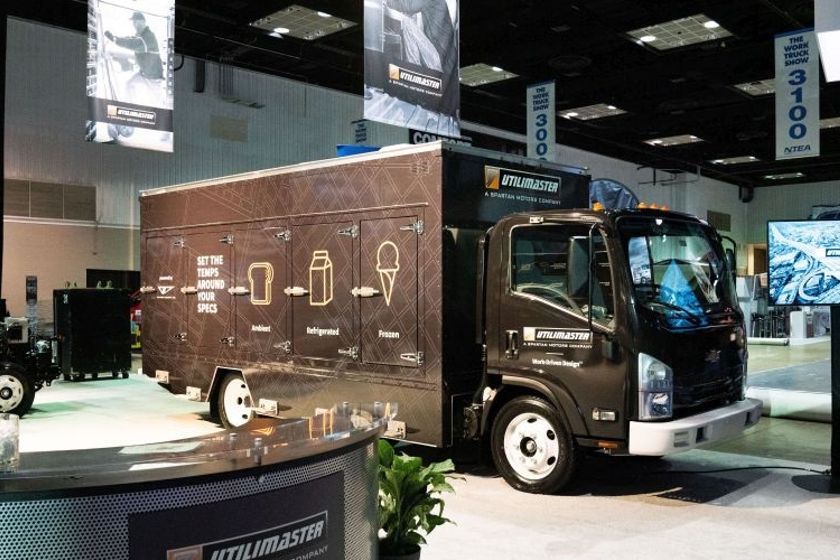 An existing Utilimaster body was modified at the Work Truck show to showcase new featuers for...