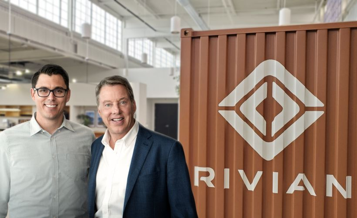 RJ Scaringe and Bill Ford (left to right) announced a new electric-vehicle partnership between Rivian and Ford.