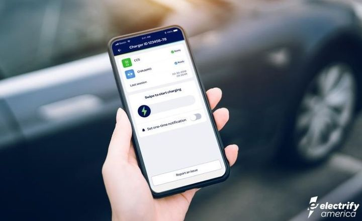 Electrify America's mobile app allows users to locate a charging station; pay for EV charges; and check EV charge time progress. - Photo by Electrify America.