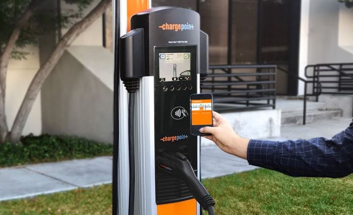 Over the next decade, the Collaborative will leverage $1 billion in capital to deploy charging at more than 4,000 travel plazas and fuel stops that serve highway travelers and rural communities.  - Photo via ChargePoint.