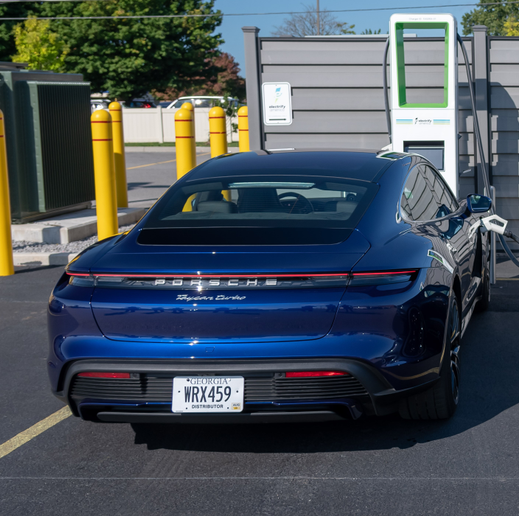 A Porsche Taycan was charged at the fastest available speed on Electrify America's DC fast-charging network.  - Photo courtesy of Electrify America.