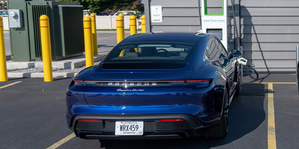 A Porsche Taycan was charged at the fastest available speed on Electrify America's DC...