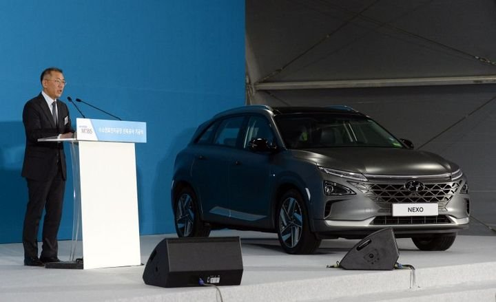 Hyundai's 2019 Nexo fuel cell vehicle is a central part of the company's hydrogen strategy.  - Photo courtesy of Hyundai.