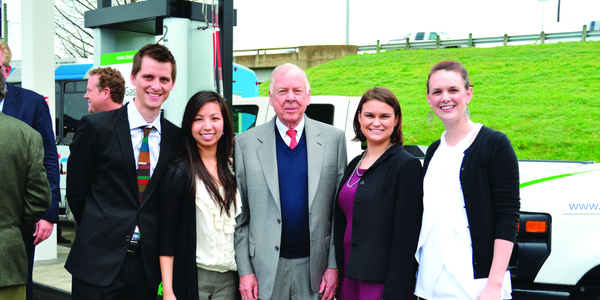 T. Boone Pickens (center) poses with Dallas-Fort Worth Clean Cities staff (from left, Kenny...