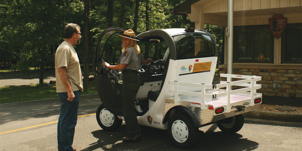 The GEM electric vehicle will be used for numerous tasks that take rangers around the Mammoth...