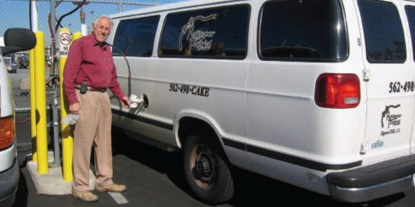Charles Feder, owner of Rossmoor Pastries, found his dedicated compressed natural gas vehicles...