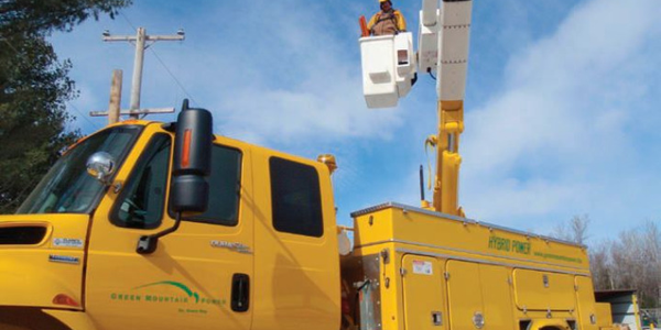 Green Mountain Power's new hybrid bucket truck can run on batteries up to 20 minutes when the...