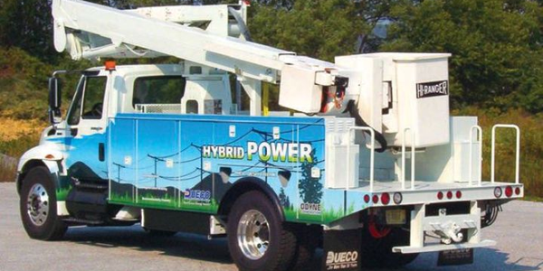 Odyne partnered with utility equipment manufacturer Dueco to develop an electric-powered aerial...