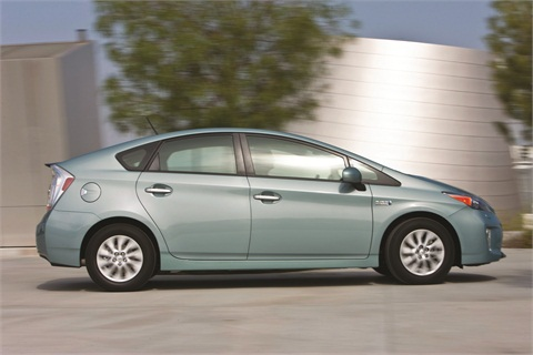 The 2013 Toyota Prius Plug-in Hybrid is available with a heads-up display that shows speed, hybrid system indication, and turn-by-turn navigation, providing maximum driver efficiency.
