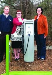 (L-R) CCFC Coordinator Jason Wager, the City of Gastonia's Kristy Crisp, and CCFC Co-coordinator Emily Parker unveil a GE Gexpro Level II, partially funded by CCFC.