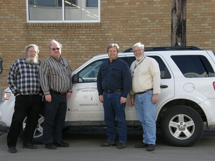 The City of Minneapolis Fleet Services division green team includes, l-r, Gary Dahl, Bill Gauthier, Al Thunberg, and Director of FSD John Scharffbillig. Photo courtesy John Scharffbillig.